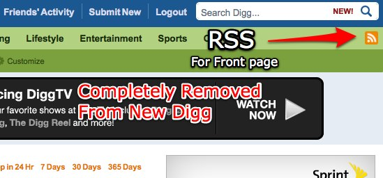 New Digg RSS Feeds